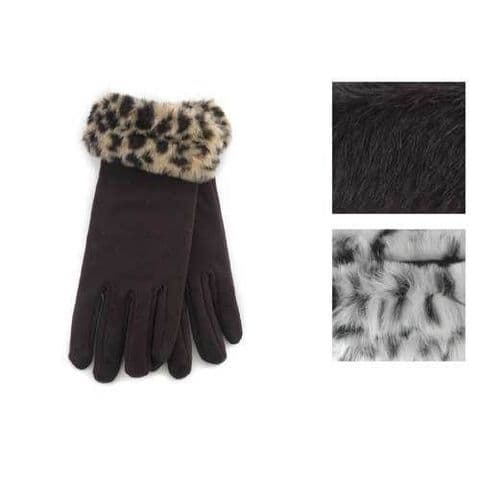 New RJM Ladies Gloves With Fake Fur Cuff Winter Ladies Gloves Leopard Print Cuff
