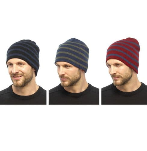 New Winter Mens Striped Pattern Knitted Winter Warm Beanie Hat/Cap One size RP£9
