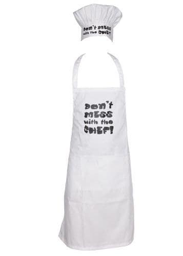 Novelty Apron Hat Set BBQ Chef Cook Kitchen Party Christmas Present Gift White