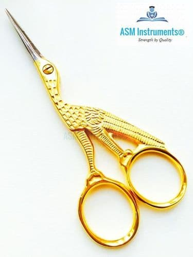 """Professional Embroidery  Cross Stitch Stork Scissors Gold Plated 4"""" Shears Craft"""