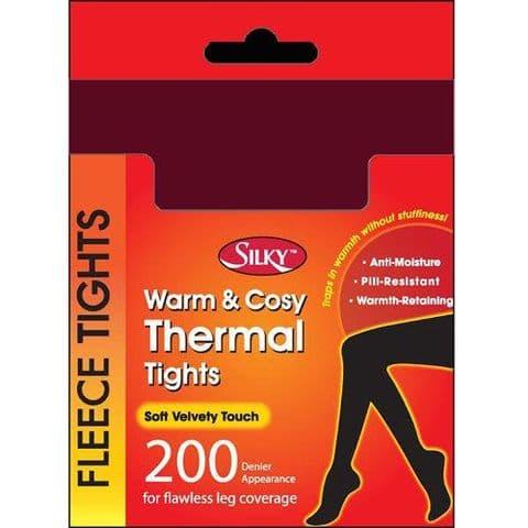 Silky 200 Denier Thermal Fleece Tights Grey, Black, Brown & wine 4 Ladies Girls
