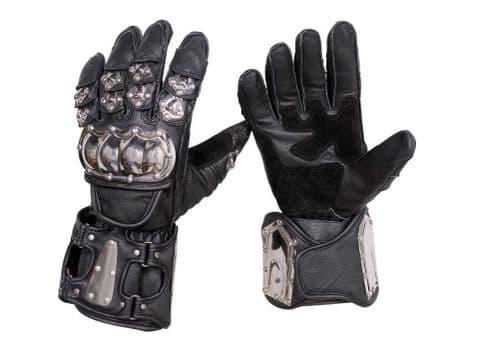 Stainless Steel Waterproof Motorcycle MOTORBIKE Racing Protective Leather Gloves