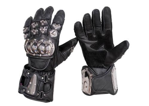 Stainless Steel Waterproof Motorcycle MOTORBIKE Racing Protective Leather Gloves