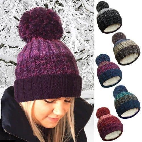 Unisex Ladies Men Winter Hat Cable Knitted Stripe Ski Hats Pom Pom Rockjock 9660