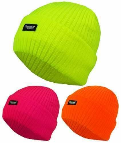Unisex Neon Thermal Fully Fleece Lined Insulated Hat Hat with Turn Up Chunky Hat