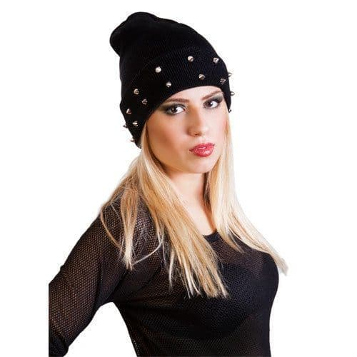 Unisex slouch beanie hat with studs Thermal Winter Hat Front Stud Ladies Hat