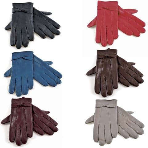 Women Ladies Soft sheepskin 100% Leather Gloves with lining Driving Winter Glove
