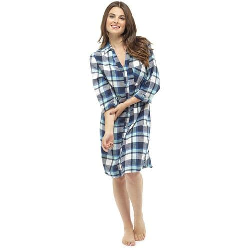 Womens Ladies Brushed Yarn Dyed Warm Flannel Check Night Shirt Lounge Wear Top