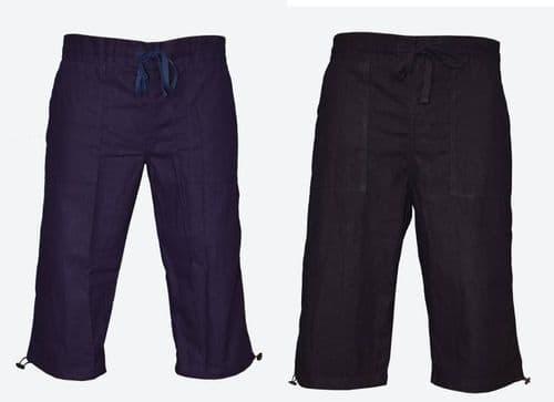 Womens Ladies Cotton 3/4 Long Summer Shorts UK Size 10 12 14 16 18 Pants Bottoms
