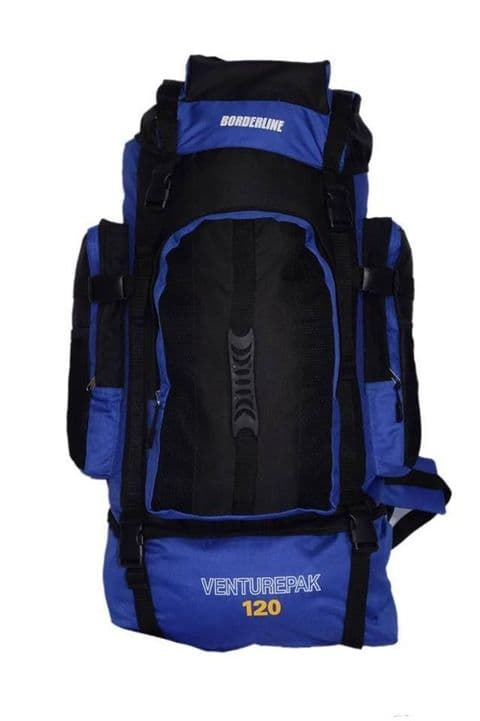 XLarge 120L Travel Hiking Rucksack Backpack Camping Festival Luggage Bag Blue XL