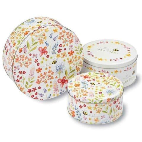 Cooksmart, Set of 3, Bee Happy Cookie Biscuit Storage Tin Multi Colour Cake Tins