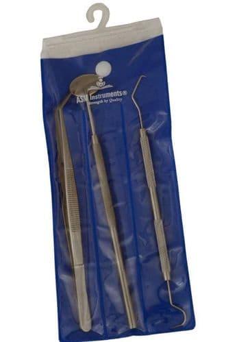 Dental Tool Kit Pick Mirror Scaler Set Teeth Cleaning Probe Tweezers Hygiene Set