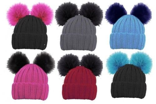 Girls Ski Beanie Hat With 2 Large Faux Fur Pom Pom's Childrens Knitted Warm hot