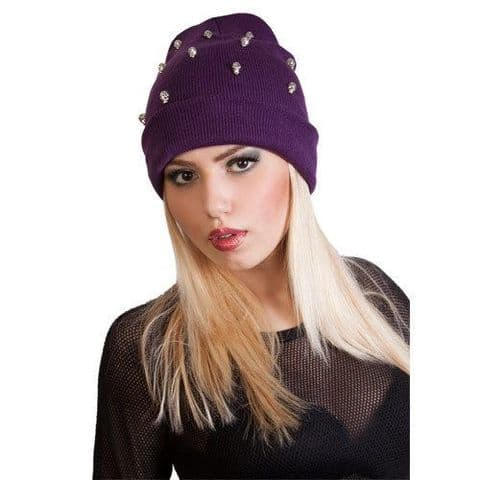 Girls,Womens,ladies & mens slouch beanie hat with skull  black grey brown purple