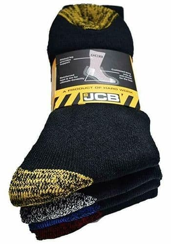JCB  Pack of 4 reinforced Worker Boot Socks Black (Size 6-11) Work Trade Safety