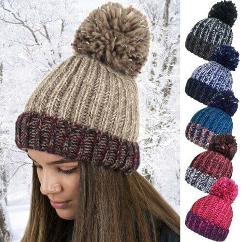 Ladies Cable Knitted Ski Bobble Winter Hats Large Pom Pom Adult Warm Women Girl