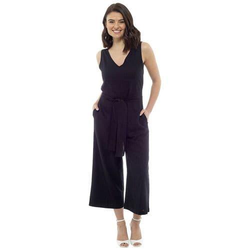 Ladies Linen Jumpsuit Women Play Suit Summer Dress Black Navy Khaki 10 12 16 18
