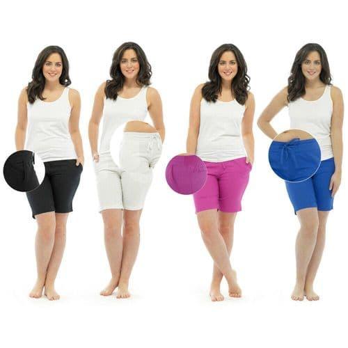 Ladies Linen Summer Shorts Cotton Back Navy Khaki Black White 10 12 14 16 18 20