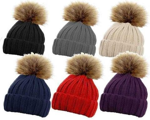 LADIES WOMEN WINTER Ribbed BEANIE SKI HAT DETACHABLE FAUX FUR BOBBLE POM POM 618