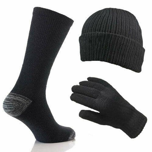 Mens Merino Wool 3 Piece Winter Thermal Gift Set Socks Gloves Hat Black One Size