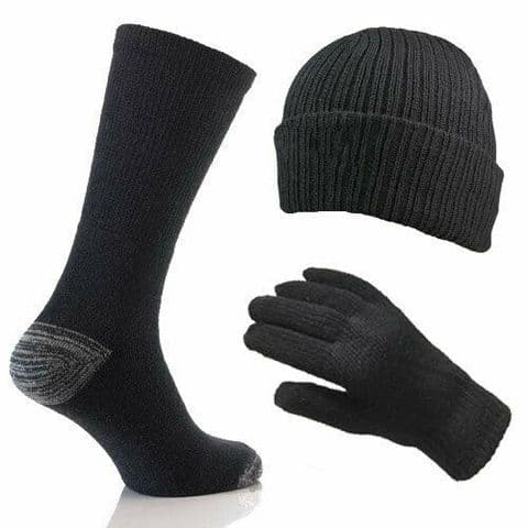 Mens Merino Wool 3 Piece Winter Thermal Gift Set Socks Gloves Hat Black One Size