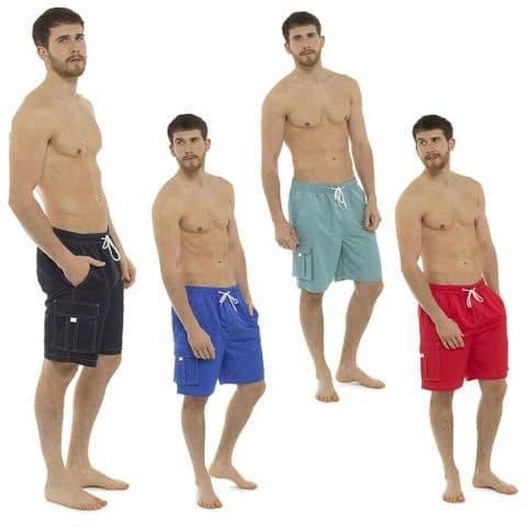 Mens Swim Shorts Trunks Beach Summer Holiday Pocket Swimwear Black Red M L XL UK