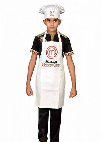 Sterling Smart® Junior Master Chef White colour  kids Cotton  Apron & Hat Set