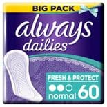 Always Dailies Fresh And Protect Normal Pliners 60 Pack