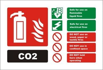 Carbon Dioxide Fire Extinguisher Landscape Identity Sign
