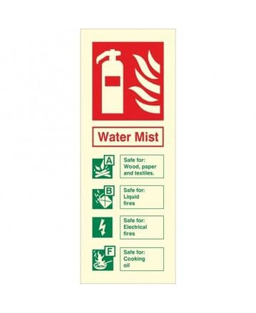 Water Mist Fire Extinguisher Portrait Identity Sign
