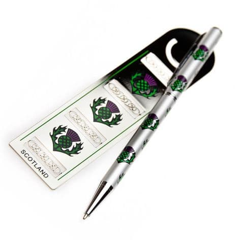 Pen & Bookmark Scottish Thistle Design