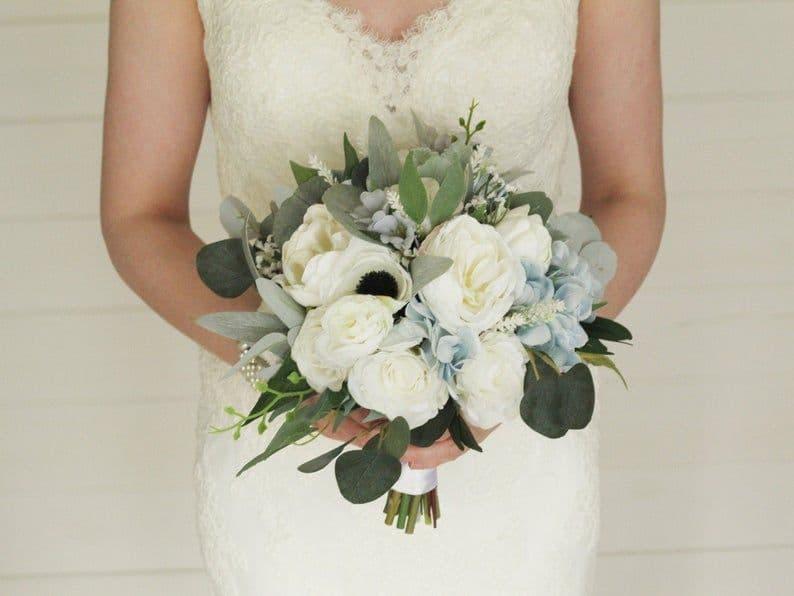 Afina Dusty Blue Artificial Bouquet