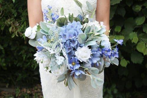 April artificial blue flower bouquet