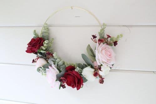 Artificial Burgundy Blush Rose Hoop