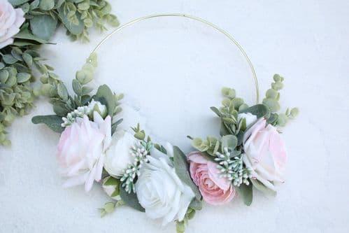 Artificial White Blush Rose Hoop