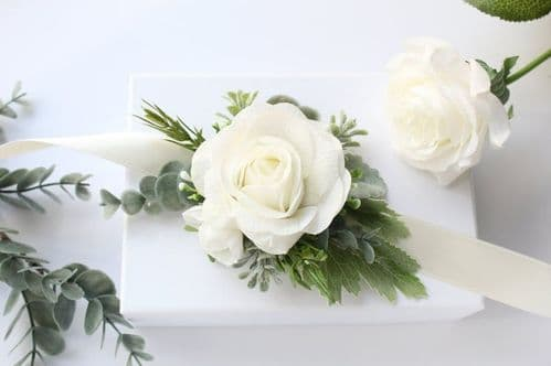 Bianca White Ivory Artificial Corsage