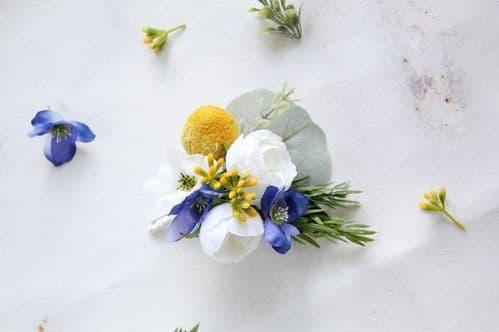 Blue Yellow Flower Boutonniere