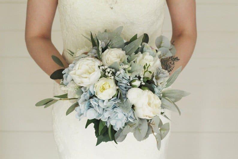 Dusty Blue Artificial Wedding Bouquet