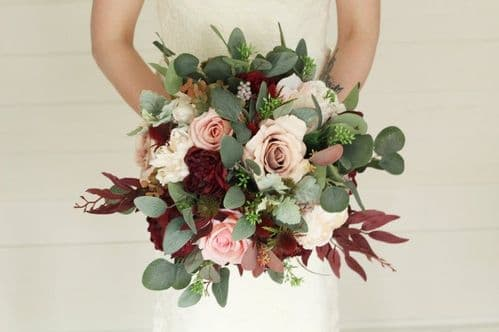 Hera Artificial Blush Burgundy Flower Bouquet