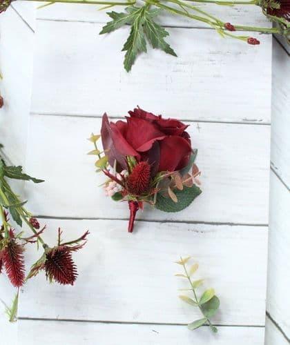 Hera Artificial Burgundy Rose Buttonhole