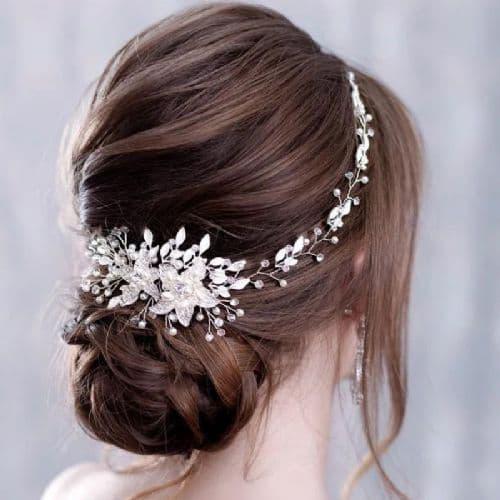 Lulu Silver Crystal Bridal Hair Vine