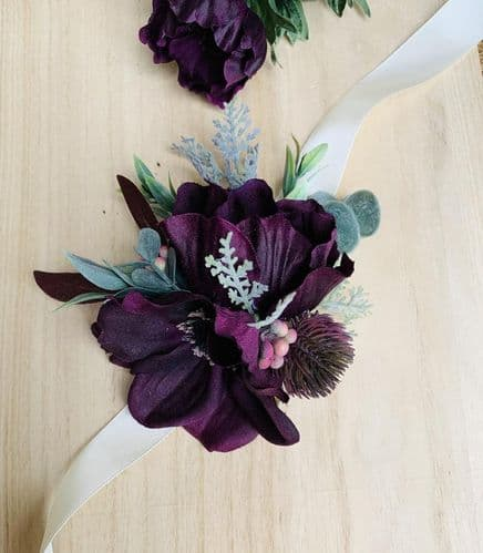 Rylee Plum Purple Wrist Corsage