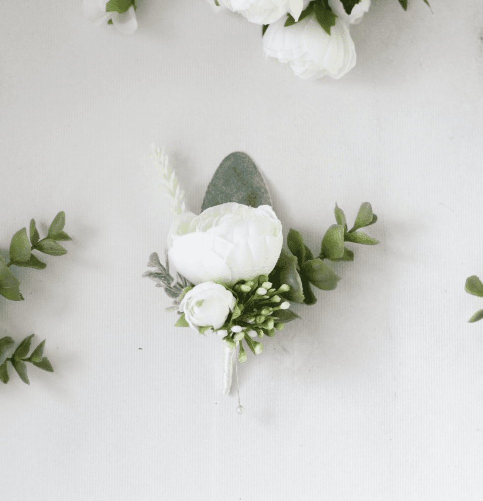 Serenity White Artificial Buttonhole
