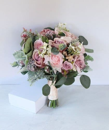 Tia Dusky Mauve Artificial Bridal Bouquet