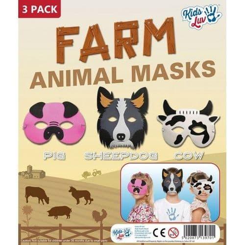 Farm Animal Masks - 3 Pack