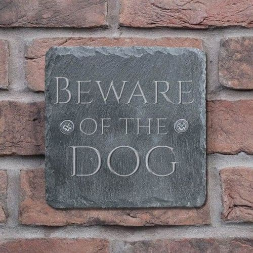 Natural Slate Beware of the Dog Sign only £9.99
