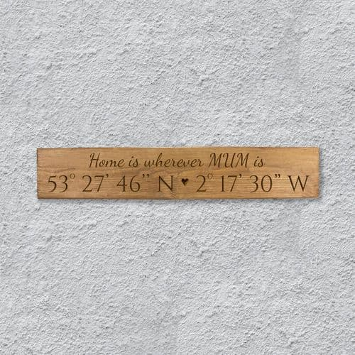 Personalised Coordinates Plaque with Mother's Day Message