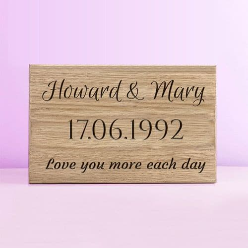 Personalised Oak Anniversary Plaque