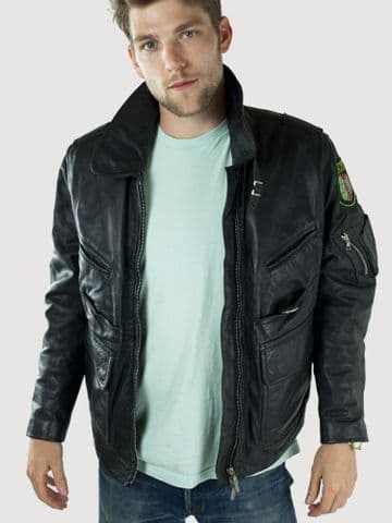 German Police Leather Jacket  Style 2 (Single)