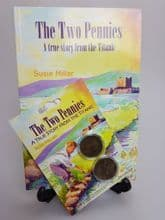 'TheTwo Pennies' book by Susie Millar, and two original, genuine pennies!